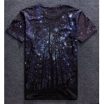 cheap Vogue Round Neck 3D Starry Sky Tree Print Short Sleeves T-Shirt For Men