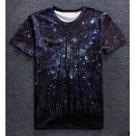 Vogue Round Neck 3D Starry Sky Tree Print Short Sleeves T-Shirt For Men
