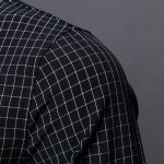 Color Block Checked Turn-down Collar Long Sleeves Shirt For Men for sale