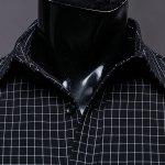 Color Block Checked Turn-down Collar Long Sleeves Shirt For Men deal