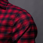 Trendy Turn-Down Collar Plaid Printing Long Sleeves Men's Shirt for sale