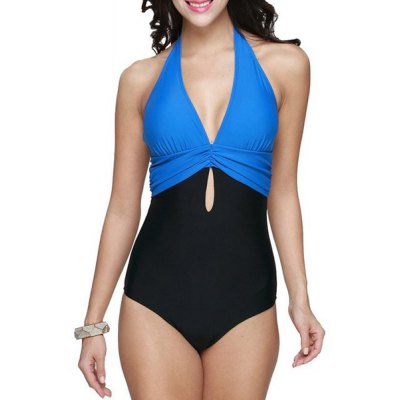 Brief Halter Patchwork Swimsuit For Women