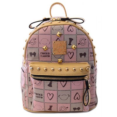 Fashionable Rivets and Plaid Design Backpack For Women