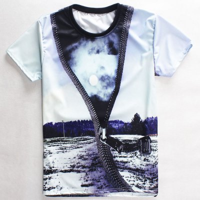 Fashion Round Neck 3D Zipper Print Short Sleeves T-Shirt For Men