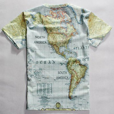 Casual Round Neck World Map Print Short Sleeves T-Shirt For Men