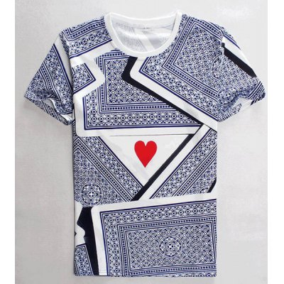 3D Playing Cards Print Round Neck Short Sleeves T-Shirt For Men