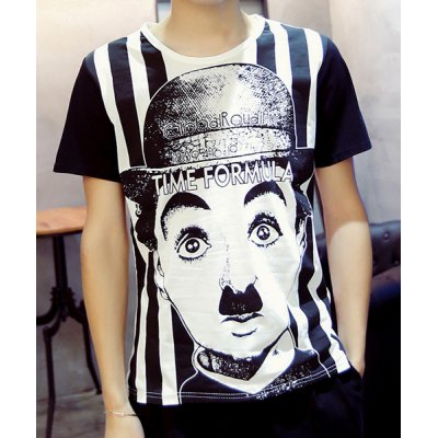 Round Collar Chaplin Printed T-Shirt For Men