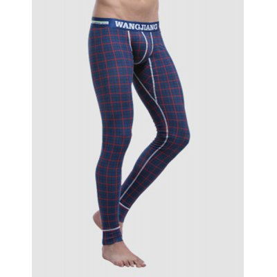 Plaid Print U Convex Pouch Elastic Waist Men's Long Johns Pants