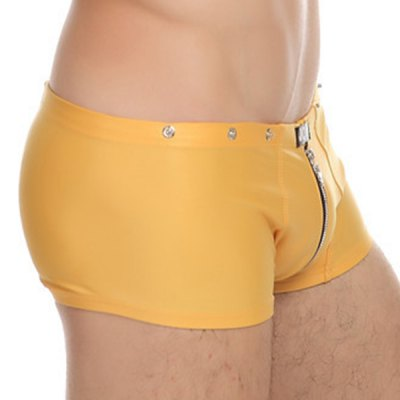 Straight Leg Zipper Design Rivet Embellished Elastic Waist Men's PU-Leather Boxer Brief