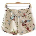 cheap Zip Fly Floral Shorts