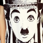 Casual Round Collar Chaplin Printed T-Shirt For Men photo