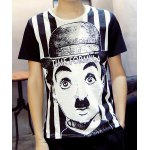 Casual Round Collar Chaplin Printed T-Shirt For Men