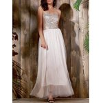 Alluring Bandeau Sleeveless Spliced Sequined Women's Maxi Dress