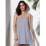 cheap Spaghetti Strap Striped Loose-Fitting A Line Dress