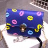 Stylish Chain and Lip Pattern Design Crossbody Bag For Women for sale