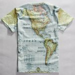 cheap Casual Round Neck World Map Print Short Sleeves T-Shirt For Men