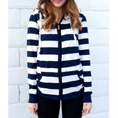 Long Sleeve Striped Zippered Hoodie