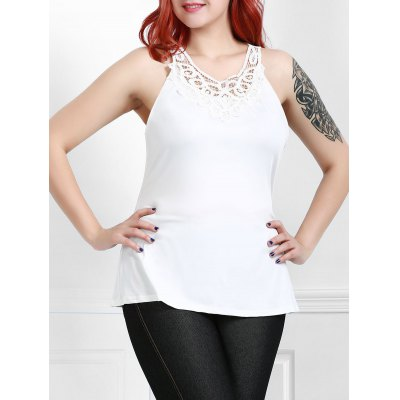 Plus Size Round Neck Sleeveless Solid Color Hollow Out Tank Top