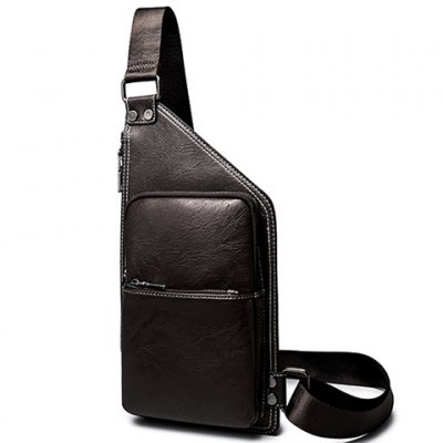 Casual Solid Colour and Zippers Design Messenger Bag For Men