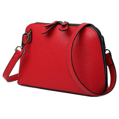 Simple Embossing and PU Leather Design Crossbody Bag For Women