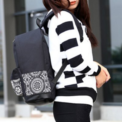Stylish Canvas and Color Block Design Backpack For Women