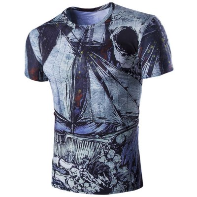 Abstract Print Short Sleeves Round Neck T-Shirt For Men