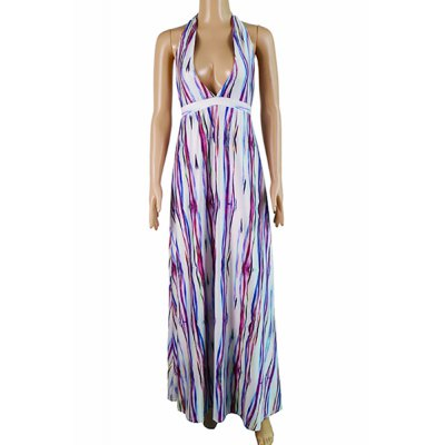 Sexy Halter Striped Plunging Neck Maxi Dress