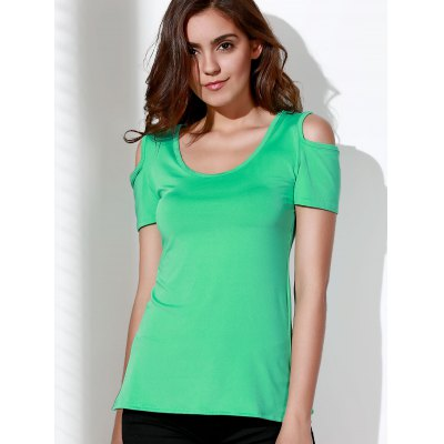 Stylish Scoop Neck Short Sleeve Solid Color Cut Out Lace Splicing T-Shirt For Women