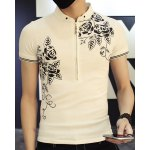 Casual Half Zipper Pullover Flower Printed T-Shirt For Men