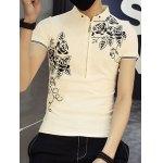 Casual Half Zipper Pullover Flower Printed T-Shirt For Men deal