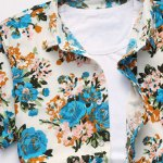 cheap Plus Size Rose Print Turn-down Collar Short Sleeves Shirt For Men