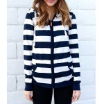 Buy Long Sleeve Striped Zippered Women's Hoodie L BLUE AND WHITE