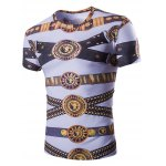 Loose Fit Golden Thongs Print Short Sleeves Round Neck T-Shirt For Men