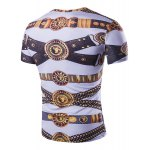 cheap Loose Fit Golden Thongs Print Short Sleeves Round Neck T-Shirt For Men