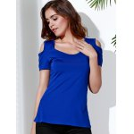 cheap Stylish Scoop Neck Short Sleeve Solid Color Cut Out Lace Splicing T-Shirt For Women
