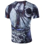 cheap Abstract Print Short Sleeves Round Neck T-Shirt For Men