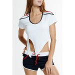 cheap Active U-Neck Self-Tie Short Sleeve Crop Top and Shorts Twinset For Women