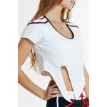 Active U-Neck Self-Tie Short Sleeve Crop Top and Shorts Twinset For Women deal