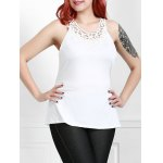 Plus Size Stylish Round Neck Sleeveless Solid Color Hollow Out Women's Tank Top
