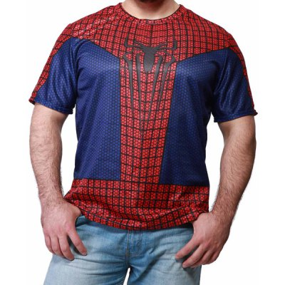 Fashion Round Neck Slimming Color Block Spider-Man Print Short Sleeve Polyester T-Shirt For Men