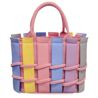 Sweet Color Block and PU Leather Design Tote Bag For Women