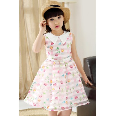 Sleeveless Floral Print A-Line Dress For Girl