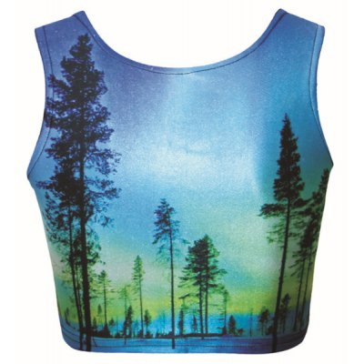 Trendy 3D Views Printed Cropped Sheath Tank Top For Women