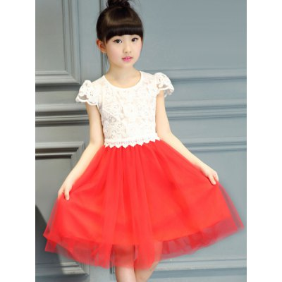 Cute Cap Sleeve Lace Spliced A-Line Dress For Girl