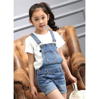 Stylish Pocket Design Suspender Girl's Denim Romper