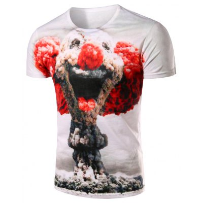 Slimming Pullover Clown Printing T-Shirt For Men