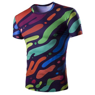 Slim Fit Pullover Camo Splicing Printing T-Shirt For Men