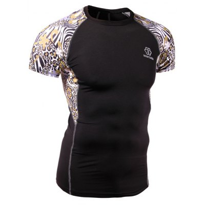 Quick-Dry Skinny Leopard Print Round Neck Short Sleeves Cycling T-Shirt For Men