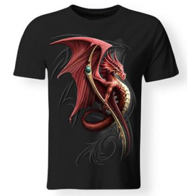 Hot Sale 3D Firedragon Print Round Neck Short Sleeves Black T-Shirt For Men