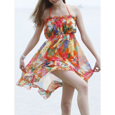 Halter Floral Print Backless Three-Piece Women's Swimsuit